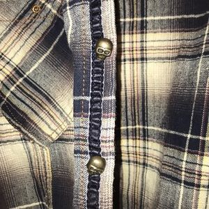 Shirts - skull plaid long sleeve shirt